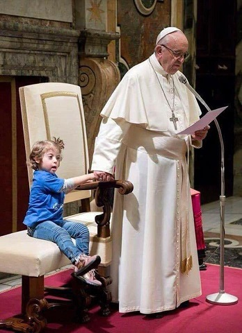 pope and downs syndrome girl